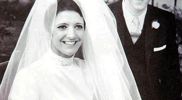 Iris and Peter Robinson pictured on their wedding day