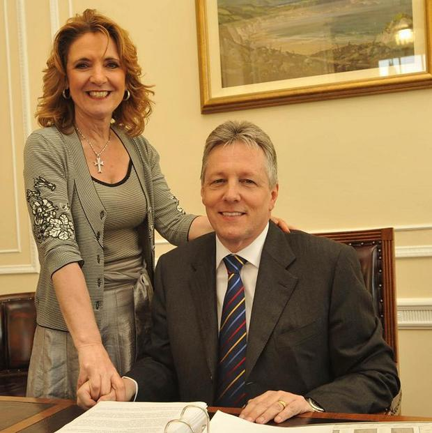 Iris Robinson with her husband First Minister Peter Robinson