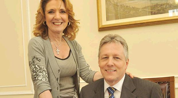 Iris Robinson, pictured with her husband and Northern Ireland's First Minister Peter Robinson