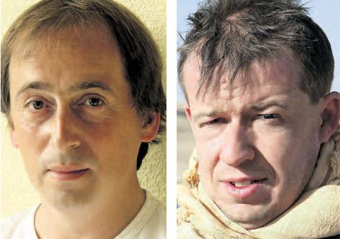 Caught in blast: Larne photographer Philip Coburn (left) was injured and Rupert Hamer was killed