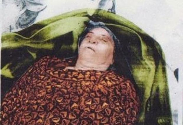 Police photo of the late Mrs Sabiha Khudur Talib in a British body bag