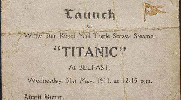 Virtual museum - A shipyard worker's ticket to the launch of the RMS Titanic (Ulster Folk & Transport Museum, Cultra)