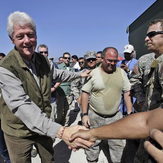 Former US president and UN special envoy for Haiti Bill Clinton in Port-au-Prince (AP)