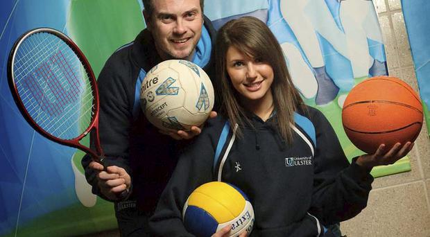 Richard Gormley, Ulster Sports Outreach unit manager and Emma O'Brien, Ulster Sports Outreach programme coordinator, celebrate their Sport Relief funding