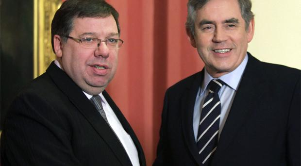 Prime Minister Gordon Brown greets Taoiseach Brian Cowen at Downing Street on January 25, 2010. Mr Cowen travelled to London today to discuss the stalemate between Sinn Fein's Martin McGuinness and the DUP's Peter Robinson