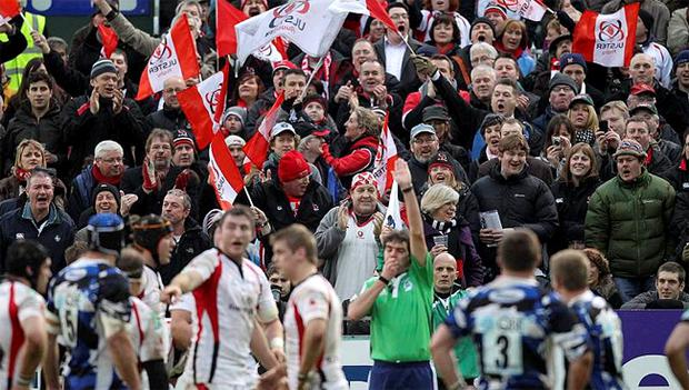 Ulster fans celebrate a try in the historic win over Bath on Saturday