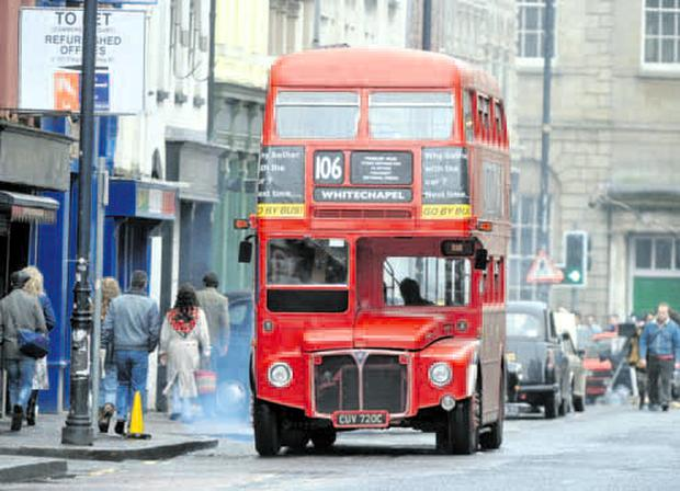 A famous London Routemaster bus in Donegall Street