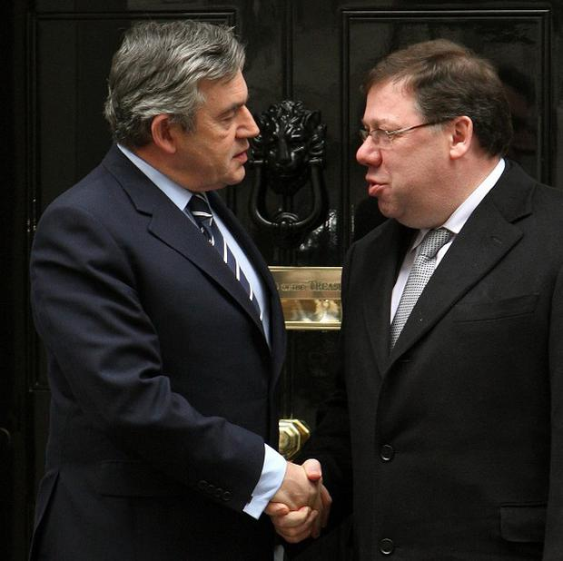 Gordon Brown and Brian Cowen are leading talks aimed at saving the Northern Ireland power-sharing government