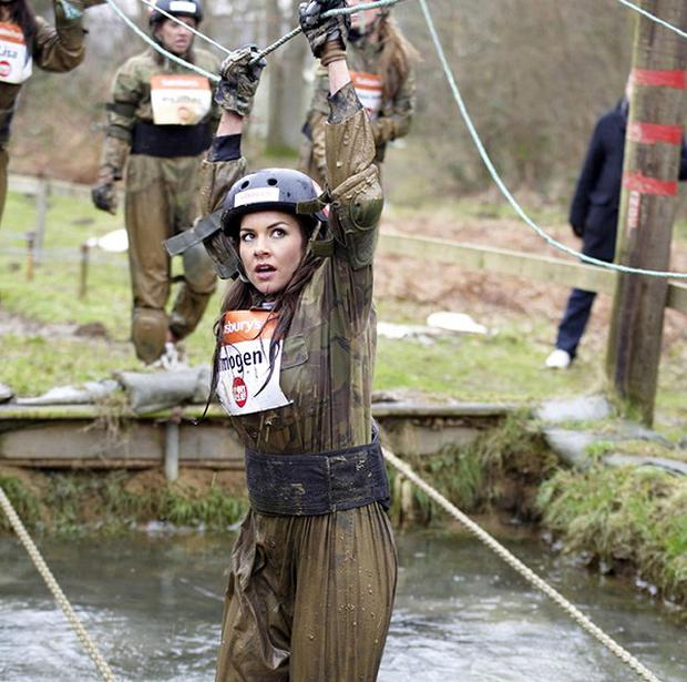 Imogen Thomas and other WAGs tackled an assault course for charity
