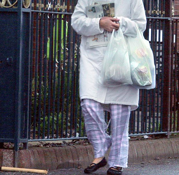 A typical scene around Belfast: pyjamas being worn to the shops
