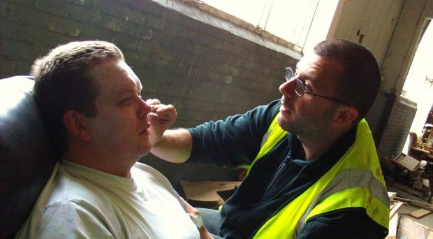 Kiss and make-up — Giving the actors the right look on the set of the latest film from Belfast man George Clarke