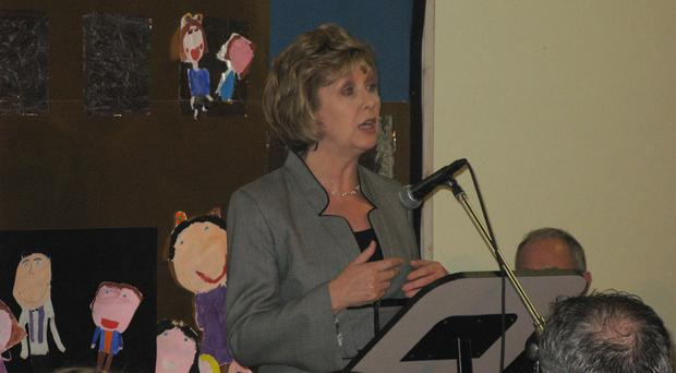 .Irish President Mary McAleese speaks at the event
