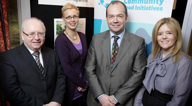 (L-r) Martin Higgins, safefood chief executive, Marjo Moonen, chair of Healthy Food for All, Dr Michael McBride, Northern Ireland's chief medical officer and Joyce Mudd, East Belfast Mission