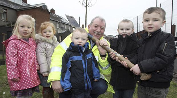 Local Councillor Pat McCarthy joins young Children Ella, Blianne, Connor, Jake and Ciaran from St John Vianney Youth Club