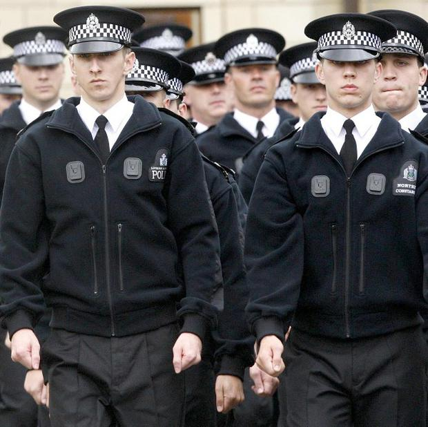 Police recruits during a passing-out parade