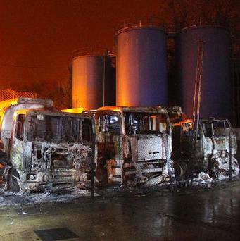 An arson attack at a fuel yard at West Station Yard in Maldon, Essex