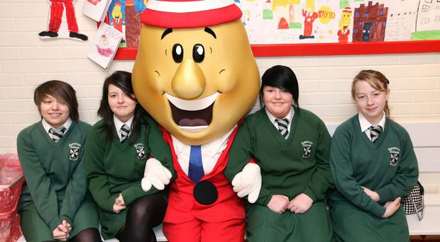 Fortwilliam pupils with Mr Tayto