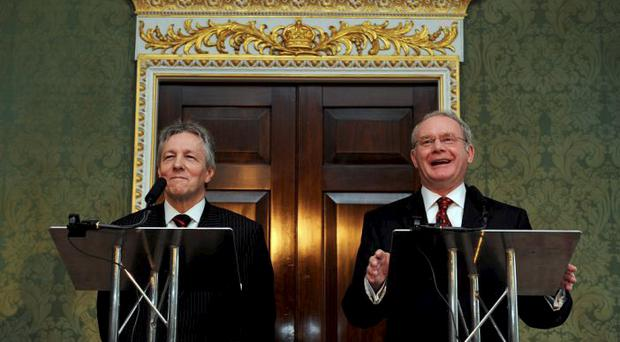 Peter Robinson and Martin McGuinness announce the agreement