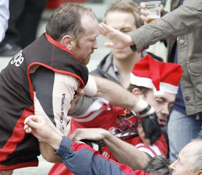 Trevor Brennan punches an Ulster's fans during the European cup rugby union match Toulouse vs. Ulster , 21 January 2007
