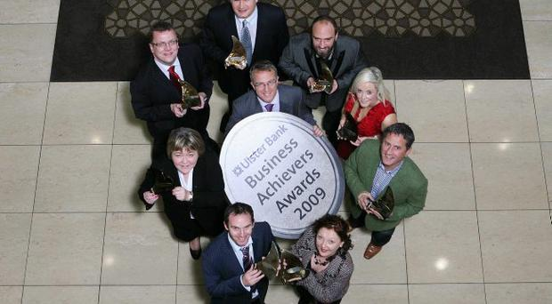 Ian Jordan of Ulster Bank with the winners of the Ulster section of the Business Achievers Awards, who are all now in the running for the all-island awards