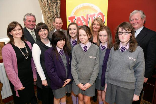 St MacNissi's College Ballymena Group With Tayto Director