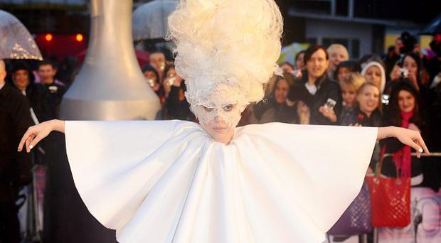 Lady Gaga arriving for the BRIT Awards 2010