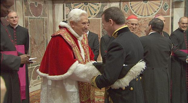 Francis Campbell is greeted by the Pope