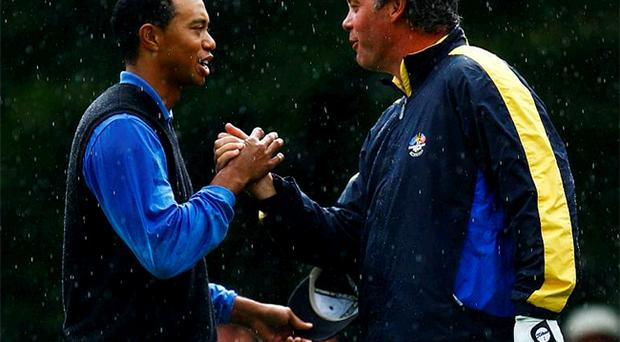Tiger Woods and Darren Clarke cemented their friendship at an emotional K Club in 2006