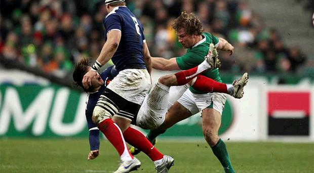 Alex Palisson is injured by Jerry Flannery's kick during the Six Nations game between France and Ireland last week