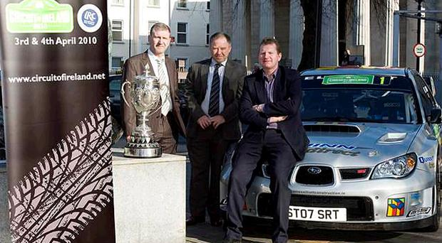 Rallying round: New Circuit of Ireland rally director Bobby Willis is flanked by clerk of the course Gordon Noble (left) and two-time winner Eugene Donnelly as plans for the 2010 event are announced in Dundalk