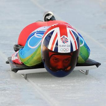 Great Britain's Amy Williams on her way to the Olympic gold medal in the skeleton bob