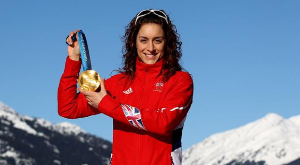 Amy Williams of Great Britain poses for a photo with her Gold Medal after winning the Women's Skeleton event