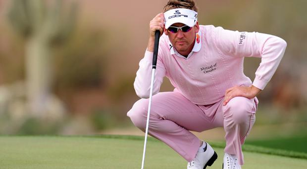 Ian Poulter lines up a putt during the final round of the Accenture Match Play Championship