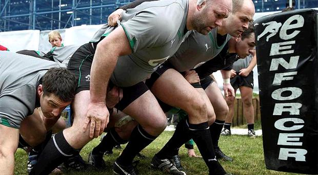 David Wallace, John Hayes, Rory Best and Cian Healy in training for Ireland