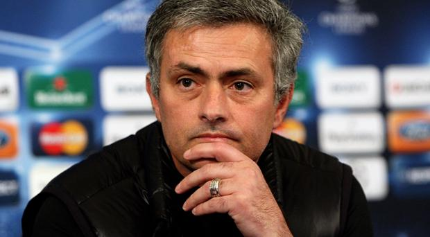 Inter Milan coach Jose Mourinho answers questions from the press yesterday