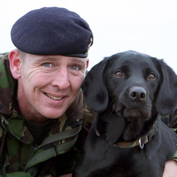 Army dog handler Sergeant David Heyhoe with Treo