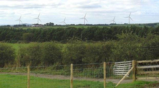Computer-generated image of how the Carn Hill wind farm will look