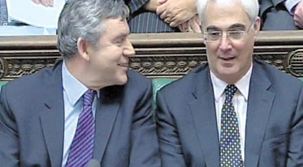 Show of unity: Prime Minister Gordon Brown and Chancellor Alistair Darling in the House of Commons yesterday