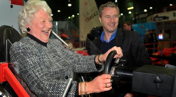 Dame Mary Peters (left) with Eddie Irvine