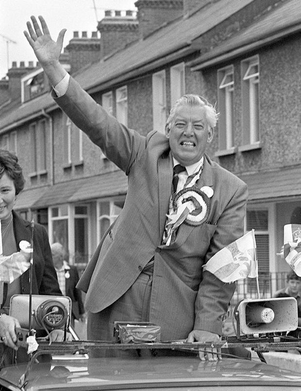 Ian Paisley DUP electioneering for Europe in Portadown. 11/6/84
