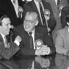 Ian Paisley, Peter Robinson and Nigel Dodds with DUP Candidates for Belfast Council Elections. 24/4/89