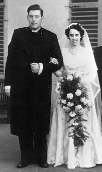 Ian Paisley pictured on his weding day to wife Eileen