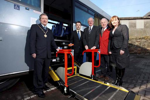 Deputy Mayor of Ards Councillor David Smyth, Translink's Richard Hudson, Jim Shannon MLA, Kieran McCarthy MLA and Michelle McIlveen MLA mark the arrival of new accessible high capacity Ulsterbus vehicles to Newtownards