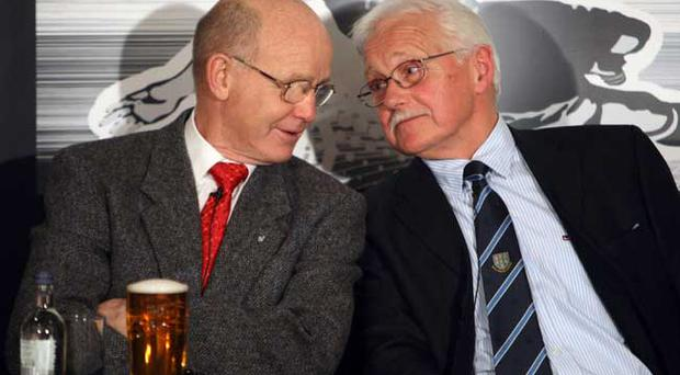 Arthur Stewart and Eddie Russell at the Ballymena United Carling Legends evening at the Showgrounds