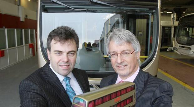 Mark Nodder (right), managing director of The Wright Group discusses the group's £7million investment in R&D projects and in a programme of staff training with Alastair Hamilton, Chief Executive, Invest NI, which is supporting the development