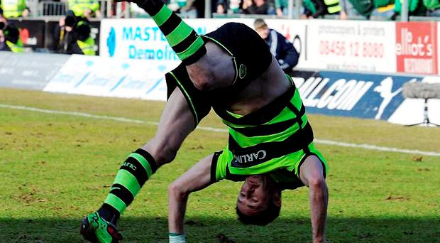 Robbie Keane celebrated in style as he bagged two goals against Falkirk