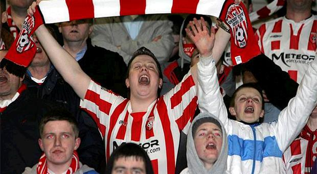Derry City fans in good voice during the opening First Division clash with Cork City at the Brandywell which ended in a 1-1 draw