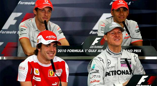 With former champions Fernando Alonso, Lewis Hamilton and Michael Schumacher in a strong field, McLaren's Jenson Button (back left) knows he has his work cut out