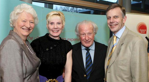 (L-r) Dame Mary Peters, Dr Janet Gray, Dr Jack Kyle and Professor Peter Gregson, Queen's vice-chancellor