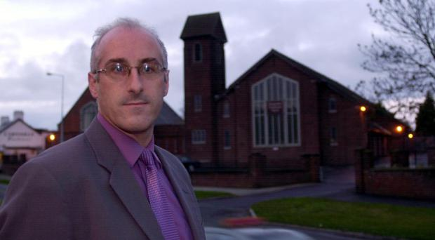 Councillor Nigel Hamilton In Glengormley November 2001Councillor Nigel Hamilton, in Glengormley, outside Glengormley Presbyterian Church. Councillor Hamilton insists that some facilities in the area have become no-go areas for young Protestants